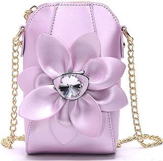 Khouses Ms. mobile phone bag mini bag chain shoulder bag rhinestone flower shoulder bag (Color : Purple, Size : 11 * 6.5 * 18cm)