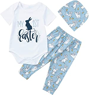Yazidan Newborn Baby Boy Cartoon First Easter Bunny Outfits Romper Hat Trousers Set Baby Short Sleeve Easter Bunny Haber Trousers Hat Set of 3