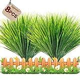 hanmir Planta Artificial Hierba Verde 8pcs Hierba de Trigo al Aire Libre para Exteriores, Interiores, Hogar, Jardín, Oficina, Colgante y Decoración Boda etc - 36cm