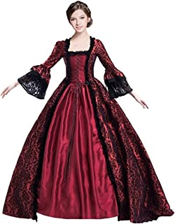 Womens Classic Gothic Vampire Dress Court Midnight Queen Princess Medieval Lolita Ball Gown