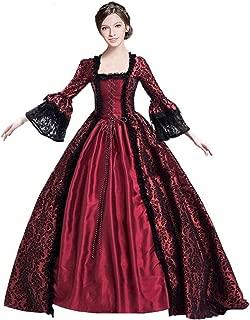 Womens Royal Retro Medieval Renaissance Dresses Lady Satin Rococo Ball Gown Gothic Victorian Masquerade Dress
