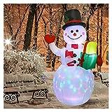 GUIDATO Pupazzo di Neve Gonfiabile Illuminato, Pompa di Aria Lampada Notturna Decorazione Natalizia Gigante Babbo Natale con Decorazioni di Natale statuto