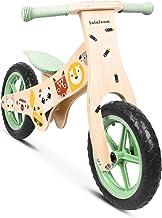 Lalaloom WILD BIKE - Bicicleta sin pedales madera verde diseño animales andador bebe correpasillos niños 2 años para equilibrio sillín regulable con ruedas de goma EVA