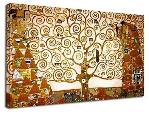 GRAFIC Cuadro Klimt El árbol de la Vida - The Tree of Life Lienzo de impresión con o sin Marco (Cuadro con Marco DE Madera, CM 130X76)