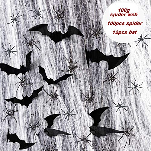 VNEED 100g Halloween White Cobweb with 100pcs Plastic Spiders & 12Pcs 3D Bats Stickers for Halloween Haunted House and Horror Themed Parties Décor