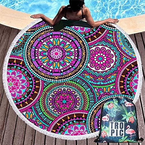 KEITA Toallas de Playa Redonda de Verano Geométrico Mandala Círculo Bañera Ducha Toalla de Yoga Matta Manta Toalla Playa (Color : Towel and Bag 7)