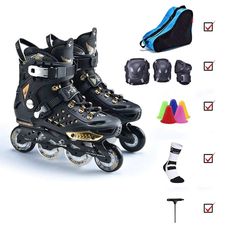 Ailj インラインスケート インラインスケート、スポーツスケート男性と女性の初心者のための耐震性、サイズ36-43黒と白のプロのローラースケート 高構成プロスケート靴 (Color : Black, Size : EU 37/US 5/UK 4/JP 23.5cm)
