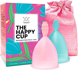 Happy Cup Menstrual Cups Hawwwy Tampon & Pad Alternative Small and Large Regular and Heavy Flow Good-Grip Pull Design Eco ...