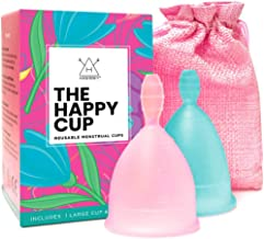 Happy Cup Menstrual Cups Hawwwy Tampon & Pad Alternative Small and Large Regular and Heavy Flow Good-Grip Pull Design Eco Friendly Reusable FBA Registered FemininePeriod Cup Beginner and Experienced