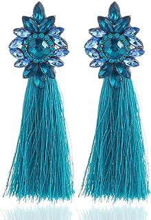 OETY 9 Colors Long Tassel Earrings For Women Crystal Drop Earrings Fashion Jewelry