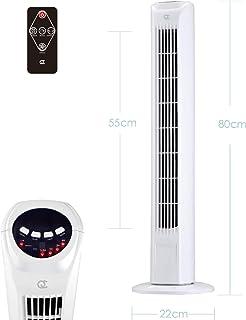 FlinQ Slim Line - Ventilador de torre silencioso con mando a distancia y función de giro, 80 cm, 45 W, con 3 velocidades, ventilador de pie con temporizador, modelo actualizado 2020