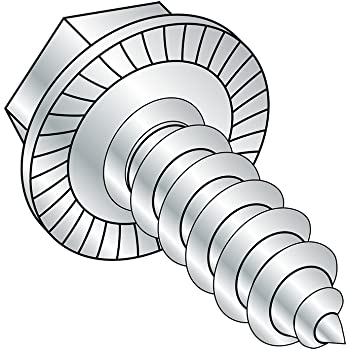 Serrated Hex Washer Head 1 Length Zinc Plated Pack of 100 Pack of 100 Steel Thread Rolling Screw for Metal #6-32 Thread Size Small Parts 0616RWS 1 Length