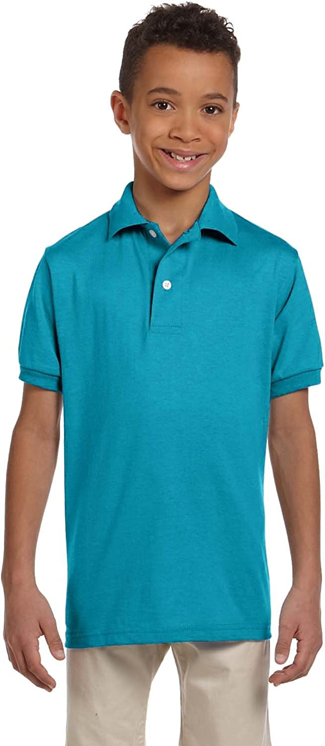 Jerzees Youth 5.6 oz., 50/50 Jersey Polo with SpotShield (437Y) CALIFORNIA BLUE