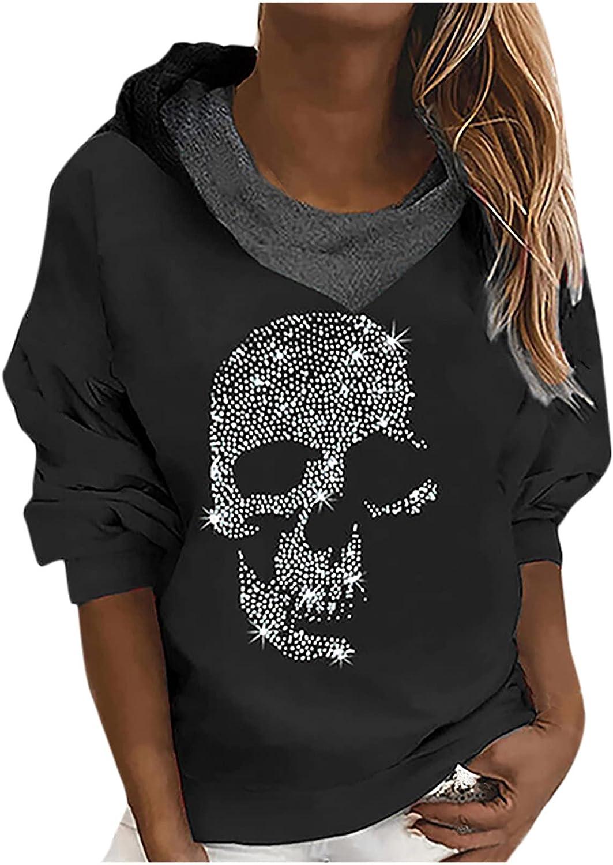 Women Cowl Neck Pullover Sweatshirts Fake 2 Piece Stitching Long Sleeve Skull Print Fashion Gothic Pocket Blouse Tops