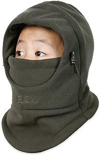 Kids Windproof Double Thick Fleece Hoody Balaclava Outdoor Sledding Skiing Cap