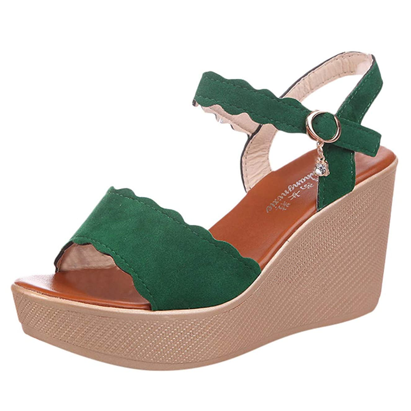 Women Summer Fish Mouth lacework Buckle Strap High Heel Wedges Shoes Pendant Hand Woven Sandals