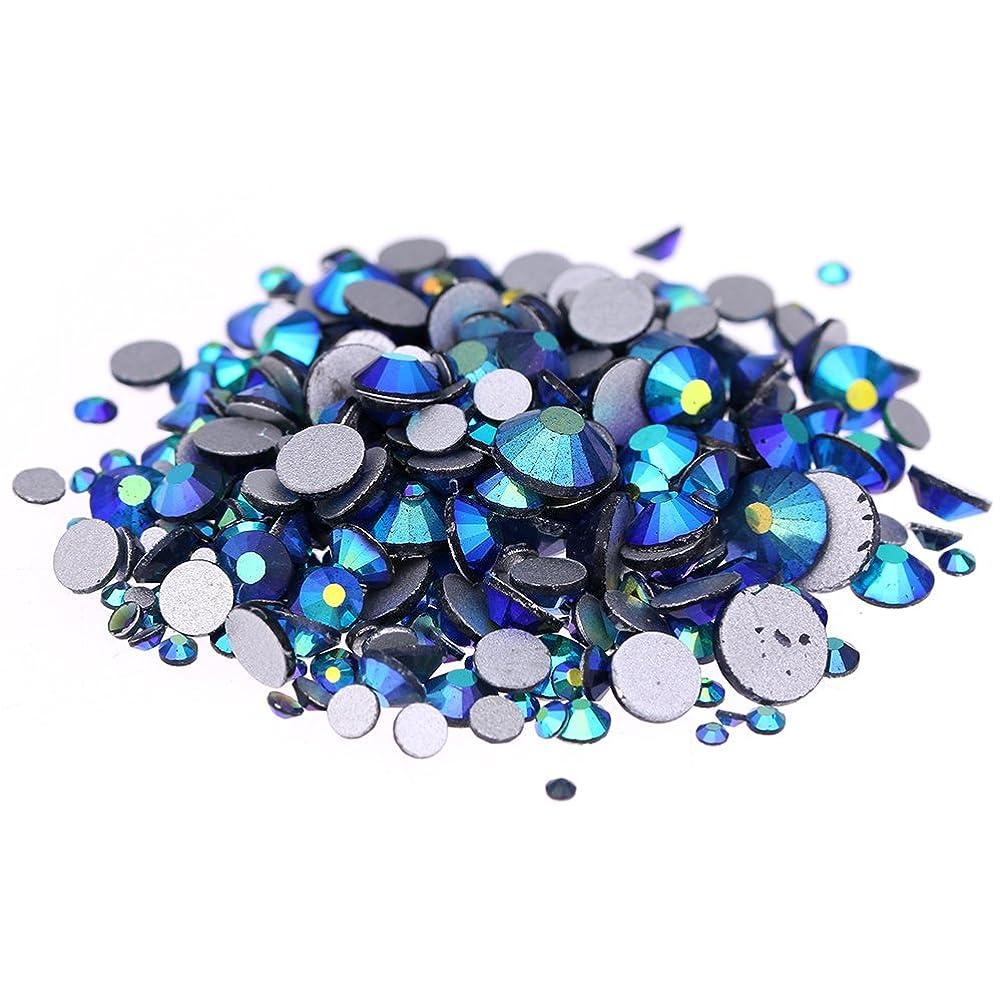 キャンディーフライトパットNizi ジュエリー ブランド デニムブルーオーロラ ラインストーン は ガラスの材質 ネイル使用 型番ss3-ss30 (混合サイズ 1000pcs)
