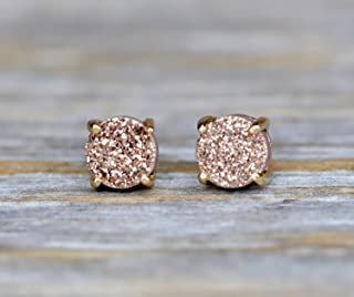 Rose Druzy Round Stud Earring- Real Drusy Gemstone Prong Set in Gold- 6mm