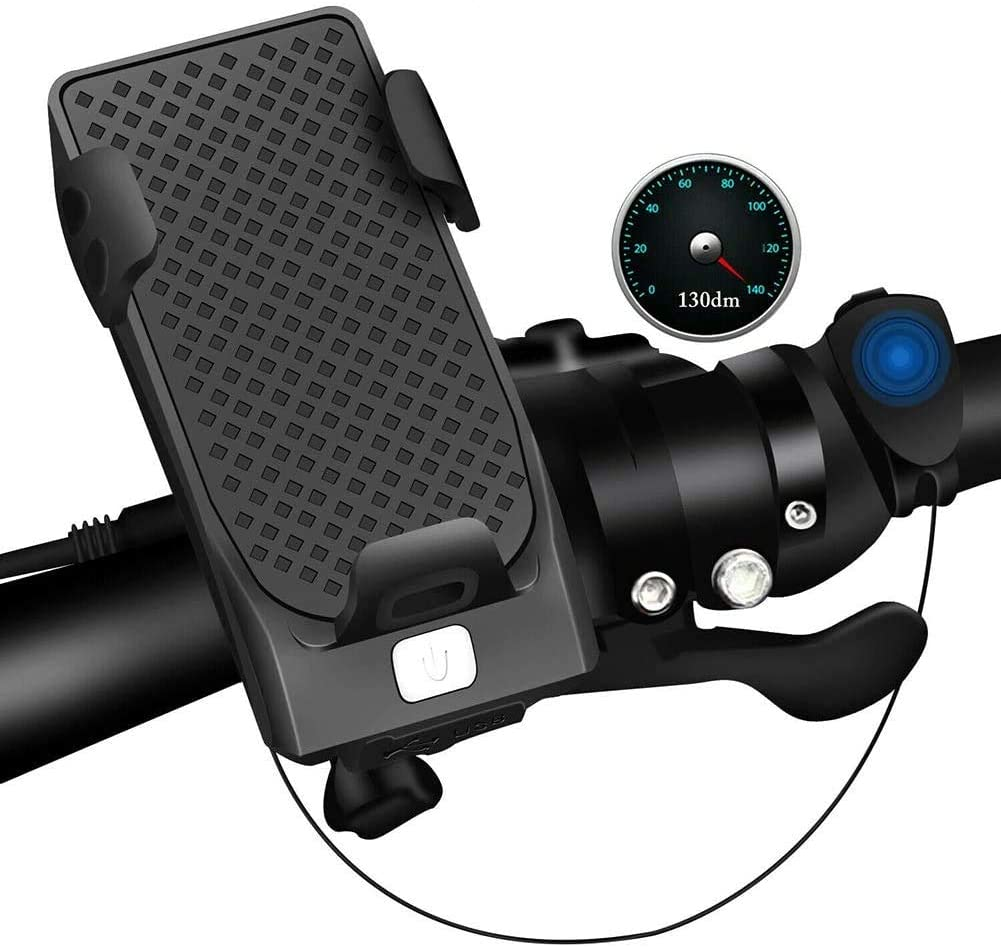 4 in 1 LED Bicycle Headlight Bike Phone Charging Treasure Rack Holder Horn