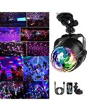 Yizhet LED discobal USB oplaadbaar feestlicht 7 kleuren RGB 360 ° draaibaar feestlicht met afstandsbediening met 3M USB-kabel voor Kerstmis, kinderen, kinderkamer, feest
