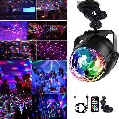 Yizhet LED Discokugel USB Wiederaufladbar Partylicht 7 Farbe RGB 360° Drehbares Partylicht mit Fernbedienung mit 3M USB Kabel für Weihnachten, Kinder, Kinderzimmer, Party