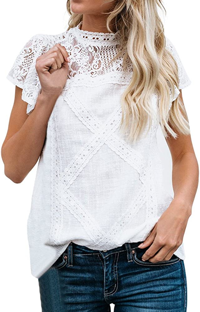 TUSANG Womens Lace Patchwork Flare Ruffles Short Sleeve Cotton Shirt Blouse Top Plus Size Solid Round Collar Tunic