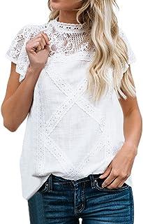 comprar comparacion Camisetas Mujer SHOBDW Dia de la Mujer Verano Patchwork De Encaje Casual Ahuecar Volantes Manga Corta Suéter De Cuello De ...