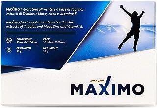 MAXIMO Integratore per Uomo | 1200 Mg | Taurina Maca Tribulus | Aumenta Vigore e Resistenza | Migliora Prestazioni | Made ...
