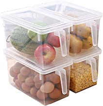 MineSign Plastic Storage Containers Square Handle Food Storage Organizer Boxes with Lids for Refrigerator Fridge Cabinet Desk (Large organizer bins)