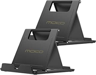 [2 Pack] MoKo Cellphone/Tablet Stand, Universal Foldable Multi-Angle Desktop Holder for iPhone Xs/XS Max/XR/X, Galaxy S9/S9 Plus, Compatible with iPad Pro 11 2018, Nintendo Switch, Black