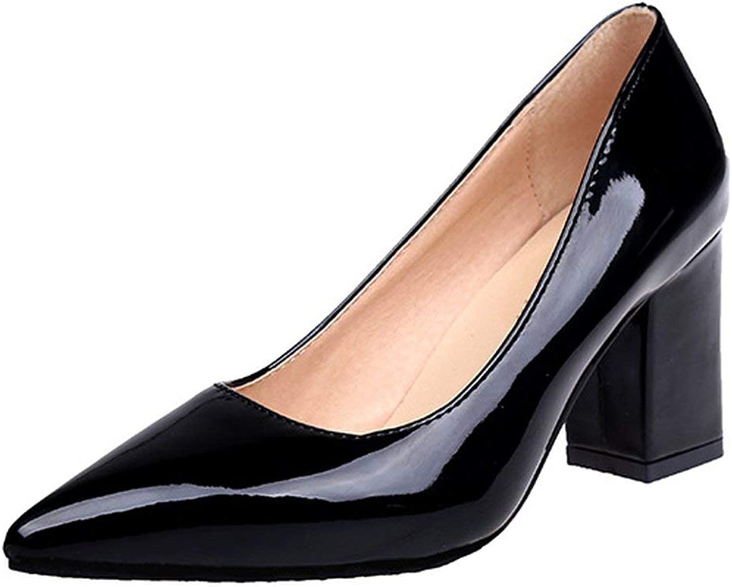 Women Pumps Black High Heels 7.5cm Lady Patent Leather Thick Pointed Single shoes