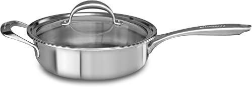 high quality KitchenAid 5-Ply Copper Core 3.5 wholesale quart Saute with Helper Handle & Lid - Stainless Steel, Medium, Stainless Steel online Finish outlet sale