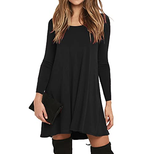 37550a033f41 V-toto Donna Vestito Casuale T-Shirt Abitos Manica Lunga Rotondo Collo  Beach Vestiti