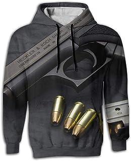 Heckler and Koch Men's 3D Printed Sweatshirt Drawstring Hoodies with Pockets