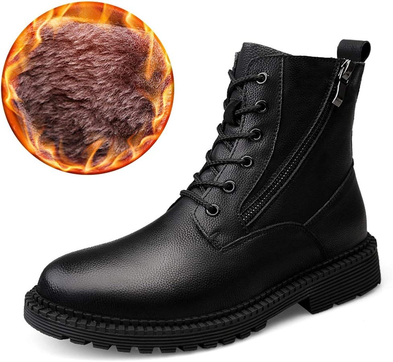 Dig dog bone Men's Mid-Calf Boots Casual High Top Rust -Proof Zipper Outsole Martin Boots(Warm Velvet Optional)