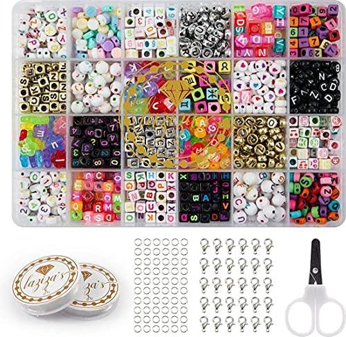 Juego de perlas con letras y números, alfabeto, colores mixtos DIY (Do It Yourself) Kit de fabricación de joyas para niños y adultos, paquete dorado / plata / colores surtidos