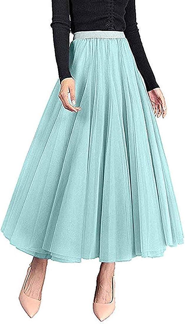 Carolilly Jupe en maille avec tutu pour femme Jupe longue /à rayures avec impression florale /à taille haute /élastique