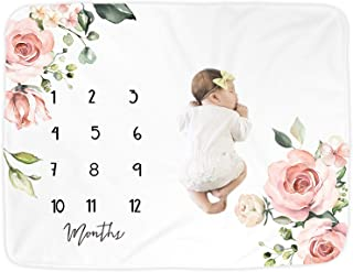 Premium Fleece Baby Monthly Milestone Baby Blanket for Boy Girl | Large Personalized Photography Background Blankets | Thi...
