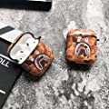 Shark Teeth Camo Softshell Silicone AirPods IMD Case for Apple AirPods 2 & 1, Wireless Charging Case Protective Cover and Skin Supreme Girls Boys Women Kids Teens Airpods (Orange)