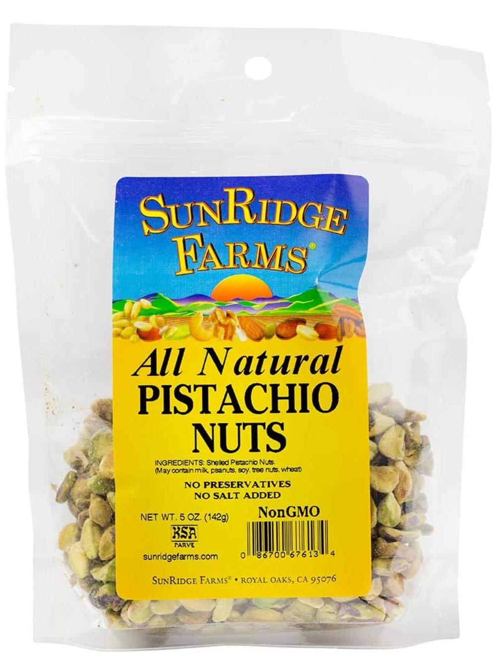 SunRidge unisex Farms Premium Whole Pistachios - No Shell Bag Indefinitely Ounce 5