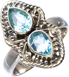 Natural Blue Topaz Handmade Unique 925 Sterling Silver Ring 7 B1965
