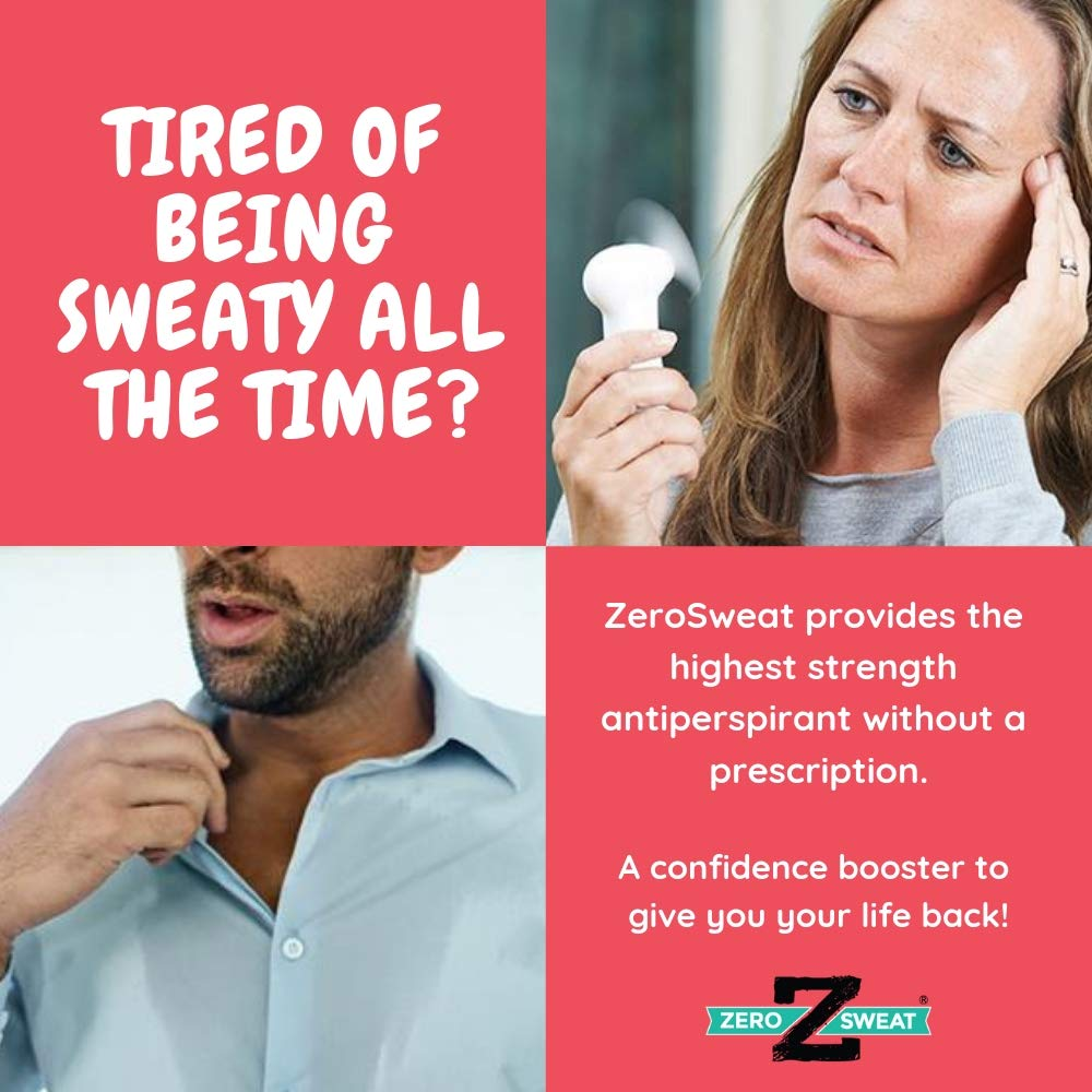 ZeroSweat Antiperspirant Deodorant   Clinical Strength Hyperhidrosis Treatment - Reduces Armpit Sweat, 1 Count : Beauty