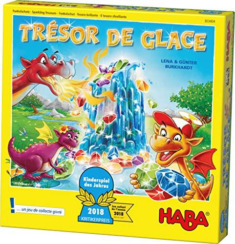 HABA Trésor de Glace jeu de plateau, jeu de souvenir amusant pour 2 à 4 joueurs, 5 ans et plus, avec 90 pierres étincelantes et 9 anneaux en glacés, joli cadeau d'anniversaire, 303404