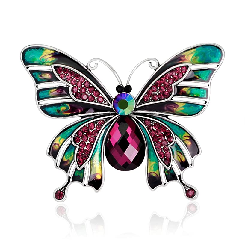 Skyllc Fashion European and American Style Colorful Enamel Drop Oil Butterfly Brooch Palace Retro Pin Corsage