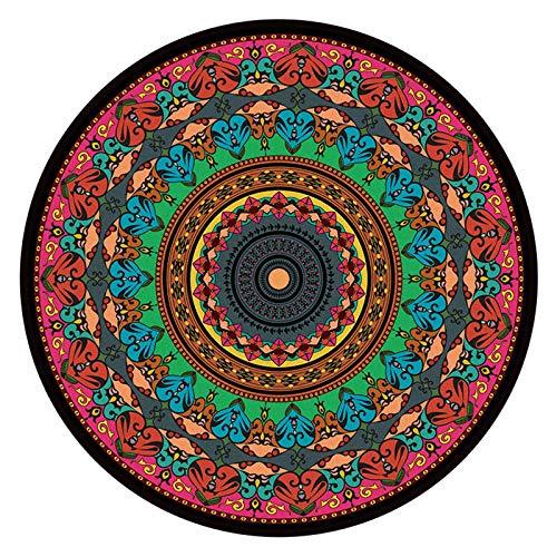 OcaseQ Tapis Ronds en Coton Antidérapant Lavable Chic Bohème Mandala Imprimé Coton Tapis Ultra Doux Tapis Moderne de Tapis Canapé Tapis de Sol pour Chambre Salon,2,120cm