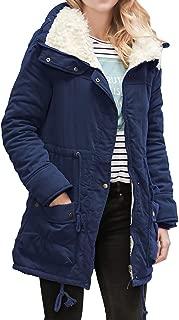 Women's Long Winter Warm Lapel Jackets Coat Slim Fit Pockets Button Drawstring Parka Outwear Coats Daorokanduhp