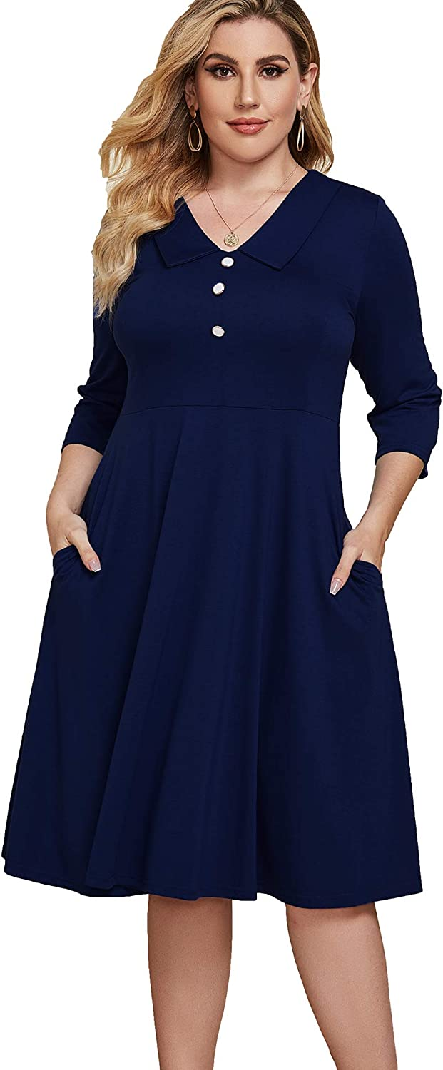BEDOAR Women's Button Down Peter Pan Collar Plus Size Swing A-Line Work Party Casual Dress with Pockets
