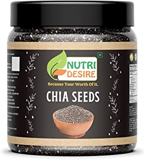 Nutri Desire Chia Seeds for Weight Loss - 300gm Chia Seeds for Eating [Jar Pack].