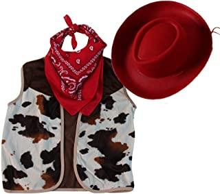 Kids Western Rodeo Cowboy or Cowgirl Basic Costume Set - Vest, Hat, Bandanna (Choose Size)