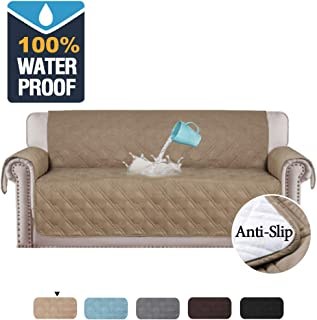 H.VERSAILTEX 100% Waterproof Couch Covers for Sofa Slip Resistant Couch Protectors Sofa Covers for Living Room Furniture Protector for Dogs Protect from Pets, Spills, Wear and Tear (Sofa: Taupe)